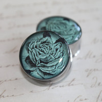 Double Sided Plugs gauges: Blue Roses  0g, 00g, 7/16, 1/2, 9/16, 5/8, 3/4, 7/8, 1 inch