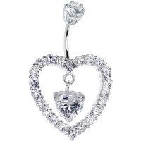 Sterling Silver 925 Clear Cubic Zirconia Heart of Hearts Belly Ring | Body Candy Body Jewelry