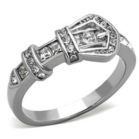 Swavorski Elements Crystal Belt Buckle Stainless Steel Ring