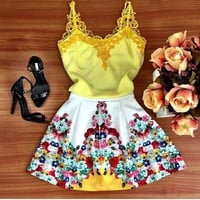 Feelingirl Fashion Sexy Yellow Lace Flower Print Dress Tank Dress Women Summer Style Beach Dresses = 1696750532