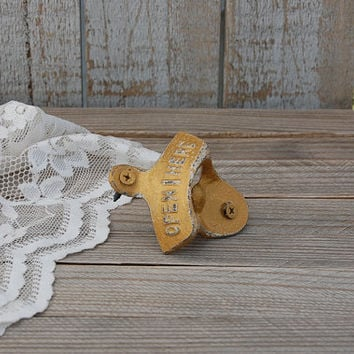 Bottle Opener, Wall Mounted, Shabby Chic, Gold, Hand Painted, Cast Iron, Metal, Distressed, Retro, Open Here