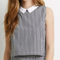 Black And White Plaid Sleeveless Collared Zipper Back Shirtt