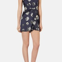 Topshop Mixed Print Gathered Satin Romper | Nordstrom