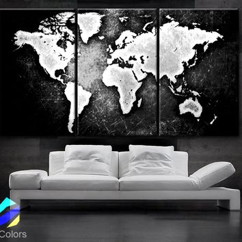 "LARGE 30""x 60"" 3 Panels 30""x20"" Ea Art Canvas Print World Map Black & White Contrast Wall Home Office decor interior (Included framed 1.5"" depth)"