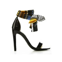 Oh Suzzy Ankle Wrap Heels Black