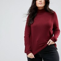 ASOS CURVE Sweater with Roll Neck and Rib Detail at asos.com