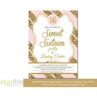 Pink Gold Glitter Stripes Sweet Sixteen Invitation, Sweet 16, Quinces birthday, vintage style, glam, sparkly