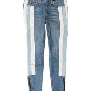 Striped Skinny Leg Jeans