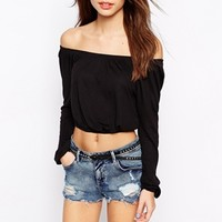 New Look Cropped Off The Shoulder Top