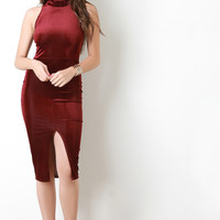 Mock Neck Velvet Corduroy Sleeveless Bodycon Dress