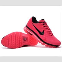 NIKE fashion casual shoes sports shock absorbing running shoes Rose red and black