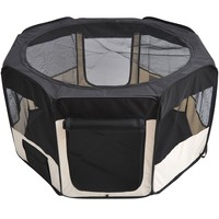 "49.2"" Portable Pet Playpen – Cream & Black 