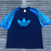 Vintage 80's adidas Football Polyester Felt Trefoil Logo Training Shirt Made In England adidas Vintage Sportswear Hip Hop Hipster 3 Stripes
