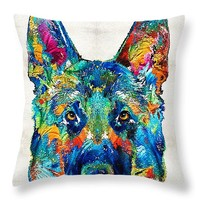 "Colorful German Shepherd Dog Art By Sharon Cummings Throw Pillow 14"" x 14"""