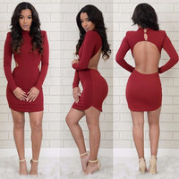 Red Cut-Out Long Sleeve Bodycon Mini Dress