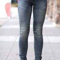 Bleached Out Ribbed Out Biker Skinny Jeans