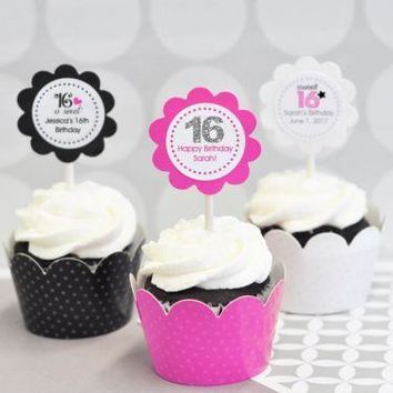 Personalized Sweet 16 or 15 Cupcake Wrappers & Cupcake Toppers (Set of 24)