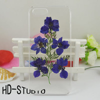 Pressed real flower iphone 6 case, iphone 6s plus case real flower iphone 5/ 5s /5c / 4 case - purple delphinium and leaf