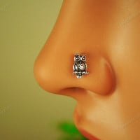 sterling silver owl nose ring nose stud nose piercing nose jewelry, MSL013
