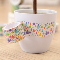 6J308 3cm Wide Colorful Raindrops Decorative Washi Tape DIY Scrapbooking Masking Tape Crafts School Office Supply