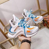 Louis Vuitton LV women's Men's Fashion Boots fashionable Casual leather Breathable Sneakers Running Shoes 05045