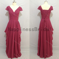 Cap sleeves chiffon dress with pleat,fashion prom dresses,evening dresses,long bridesmaid dress,chiffon prom dress,formal evening dress 2014
