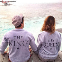 Couple Outfits The King and His Queen Love Matching Shirts Couple Women Clothes Tops Hoodies Sweatshirts
