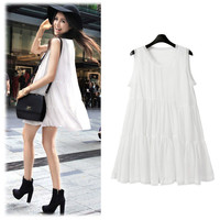 White Sleeveless Tiered Accent Mini Dress
