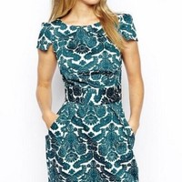 LUCLUC Royal Printed Short Sleeve Dress - LUCLUC