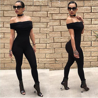 black S-XL women off the shoulder bandage jumpsuit womens jumpsuits and rompers sexy club streetwear jumpsuits TX132