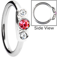 Silver 925 Rose and Clear Austrian Crystal Closure Ring | Body Candy Body Jewelry