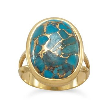 14k Gold Plated Sterling Silver Stabilized Copper Infused 13x17mm Turquoise Ring