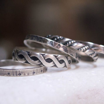 Sterling silver stacking rings, Oxidized sterling silver stack rings, Knuckle rings, Boho rings, Set of five stacking rings,  Hippie jewelry