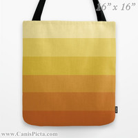 """Ombre """"Navel Orange"""" 13x13 Tote Bag Yellow Citrus Orange Citrine Color Fade 16x16 18x18 Gift Her Him Spring Summer Back to School Harvest"""