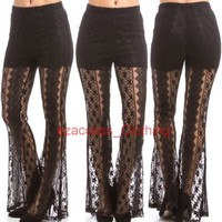 New Sexy Women Lace Crochet Sheer Mesh Palazzo Pants Wide Leg Bell Bottom S,M,L