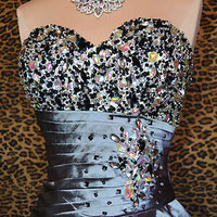 SILVER LEOPARD PROM COCKTAIL EVENING PAGEANT FORMAL PARTY GOWN DRESS M 8/10