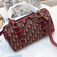 Dior New more letter canvas pillow shape shoulder bag crossbody bag handbag Burgundy