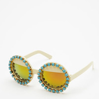 Rad And Refined Bejeweled Round Sunglasses
