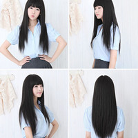 Long Straight Full Hair Clip Wigs Cosplay Human Hair Wig Neat Bangs JF207