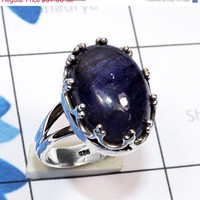 20% Off Sales iolite Cab Ring - Cabochon Ring, 925 Silver Ring, Iolite Silver Ring, Blue Stone Ring, Handmade Ring, Sterling Silver Ring, St