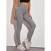 Solid Textured Skinny Sports leggings