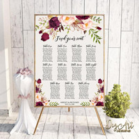 Printable Boho Floral Wedding Seating Chart Template, Editable Burgundy Blush Seating Chart Sign, Marsala Poster, Instant Download, Templett