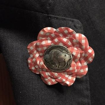 Indian Head Red Checkered Flower Rose Lapel Pin