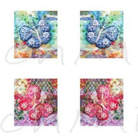 """0.75"""" x 0.83""""  - beaded butterflies - digital collage sheet - patchwork images  - instant download  - mirror images - letter size"""
