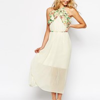 Darccy Belted Wrap Halter Maxi Dress In Print