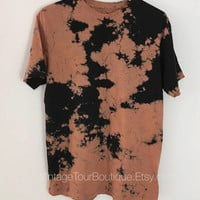 Bleached Tee Shirt Distressed T-Shirt Custom Tie Dye Bleached