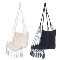 Nordic Style Hammock Safety Beige Hanging Hammock Chair Swing Rope Outdoor Indoor Hanging Chair Garden Seat for Child Adult