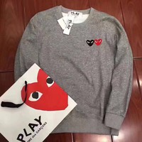 CDG Play Woman Men Fashion Round Neck Top Sweater Pullover-1