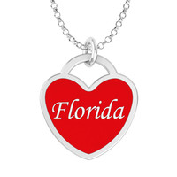 Florida Heart Necklace in Solid Sterling Silver