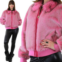 Pink Faux Fur Jacket Vintage 90s Faux Fur Jacket Coat Disco Jacket Hot pink Fur Jacket Retro Chub Coat  Vintage Chubby Coat Boho Coat